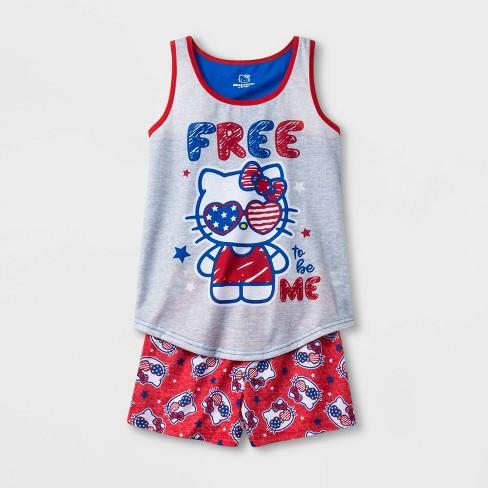 Girls' Hello Kitty 2pc Pajama Set - Gray/Red - image 1 of 1