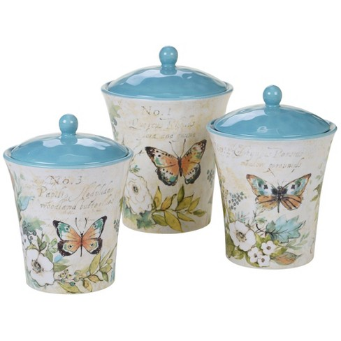 3pc Earthenware Nature Garden Canister Set - Certified International - image 1 of 2