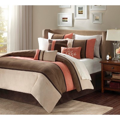 Coral/Natural Overland Microsuede Comforter Set Queen 7pc Homa