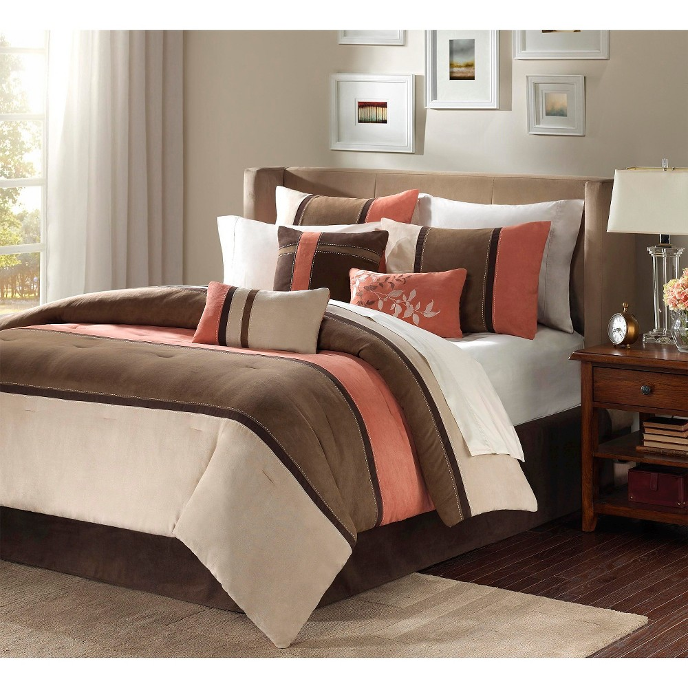 Coral/Natural (Pink/Natural) Overland Microsuede Comforter Set Queen 7pc Homa