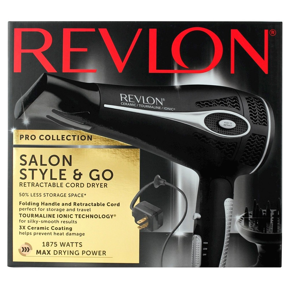 Revlon Pro Collection Retractable Cord Hair Dryer 1875W, Silver/Black The Revlon Perfect Heat Fold and Go Hair Dryer allows you to dry and go quickly with three adjustable heat settings and two speeds. This hair dryer features tourmaline ionic technology that provides silky smooth results and helps prevent frizz. Three ceramic coatings protect against heat damage. This hair dryer also has a retractable cord and a folding handle to make storage simple. Color: Silver/Black. Gender: Unisex. Pattern: Solid.