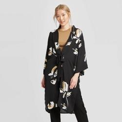 Women's Floral Print Kimono - A New Day™ Black