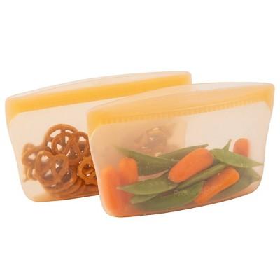 Progressive Reusable Silicone 2pk Snack Bag - Mellow Orange