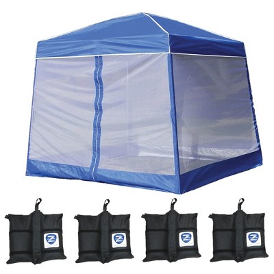 Z-Shade 10' x 10' Angled Leg Instant Canopy Tent Shelter w/ Screen & Weight Bags