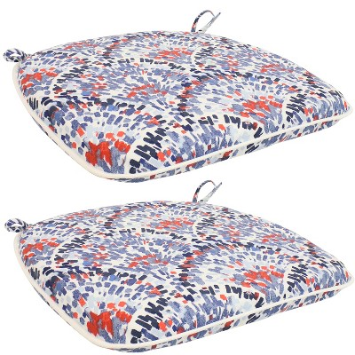 """Sunnydaze U-Shaped Outdoor Seat Cushions with Ties - 13.5 W Top (16.25"""" W Bottom) x 1.75"""" Thick - Abstract Red/Blue"""""""