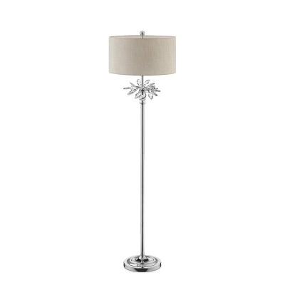 """62.25"""" Traditional Metal Floor Lamp with Crystal Accents Silver - Ore International"""