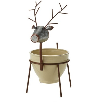 Lakeside Reindeer Bowl with Decorative Metal Stand for Christmas Appetizers, Dips