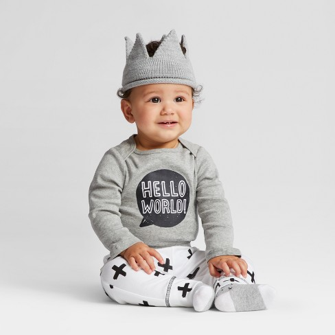 c1f5193c48742 Baby Knit Crown - Cloud Island™ - Gray 0-6M   Target