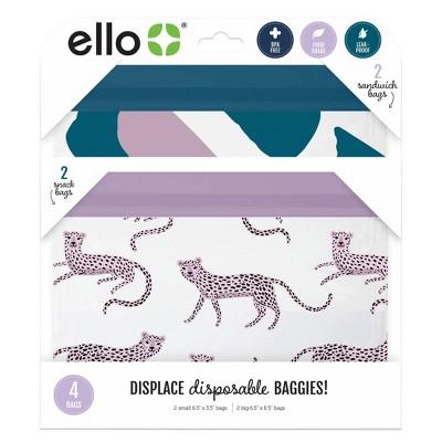 Ello 4pk Zip Food Storage Bags - Brush Stroke/Cheetah