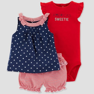Baby Girls' 3pc America's Sweetie Set - Just One You® made by carter's Red/Navy 3M