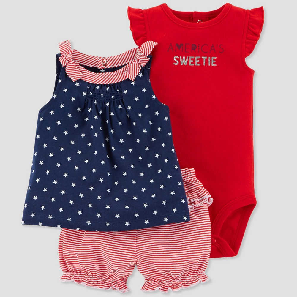 Baby Girls' 3pc America's Sweetie Set - Just One You made by carter's Red/Navy 12M