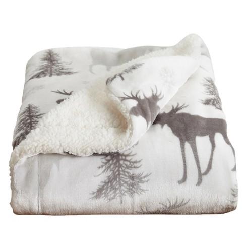 Home Fashion Designs Reversible Sherpa Velvet Plush King Blanket Moose Target
