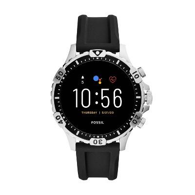 Fossil Gen 5 Smartwatch Garrett HR 46mm - Stainless Steel with Black Silicone