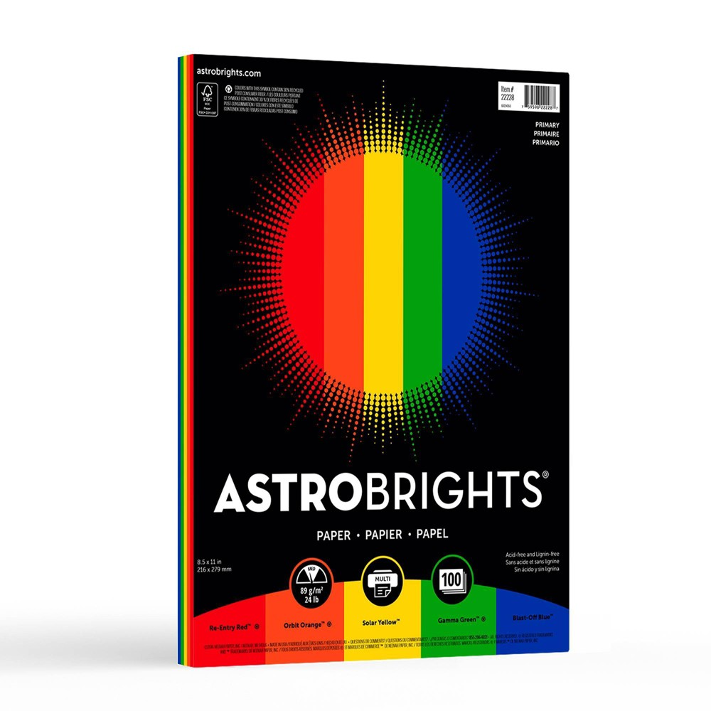 Image of 100 Sheet Astrobrights 5-Color Primary Colored Paper