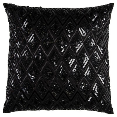 """20""""x20"""" Oversize Diamond Sequences Textured Holiday Square Throw Pillow Black - Rizzy Home"""