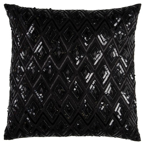 "20""x20"" Oversize Diamond Sequences Textured Holiday Square Throw Pillow Black - Rizzy Home - image 1 of 2"