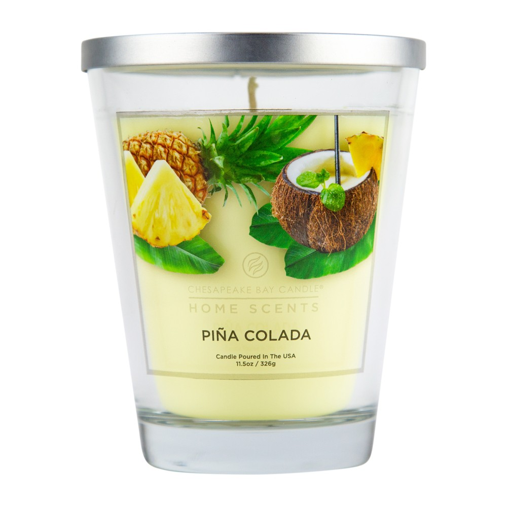 Image of 11.5oz Lidded Glass Jar Candle Piña Colada - Home Scents By Chesapeake Bay Candle, White