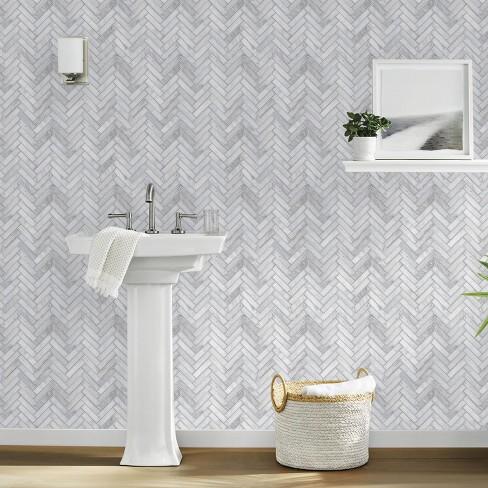 Marble Herringbone Tile Peel Stick Wallpaper Gray Threshold Target