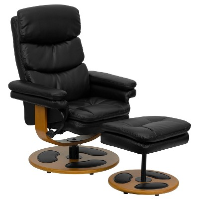 Flash Furniture Contemporary Multi-Position Recliner and Ottoman with Wood Base in Black LeatherSoft