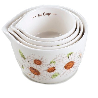 Lakeside Ceramic Nesting Daisy Accent Measuring Cups Set for Kitchen - 4 Pieces