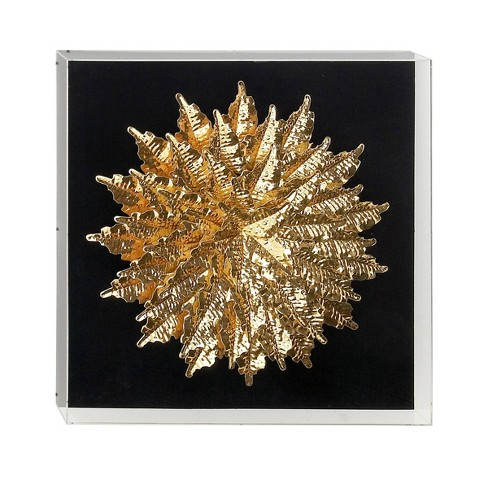 "24"" x 24"" Glam Style Paper Feathers on Shadowbox Acrylic Frame Gold - Olivia & May - image 1 of 3"