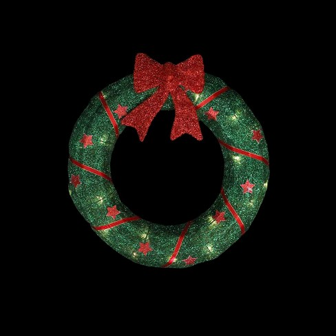 Northlight 18 Prelit Lighted Sisal With Stars And Bow Outdoor Christmas Wreath Target