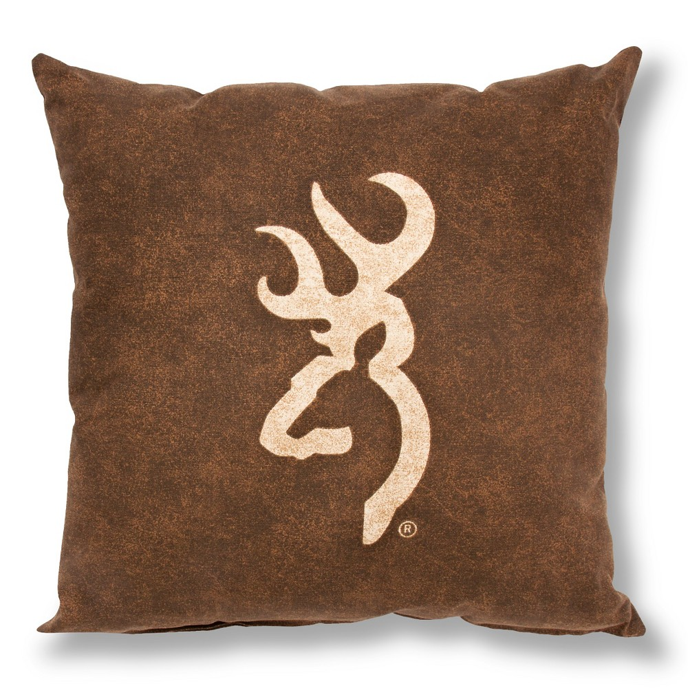 "Image of ""Brown Buckmark Logo Square Throw Pillow (18""""x18"""") - Browning, Beige"""