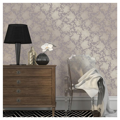 Tempaper Silhouette Dusted Lavender Removable Wallpaper