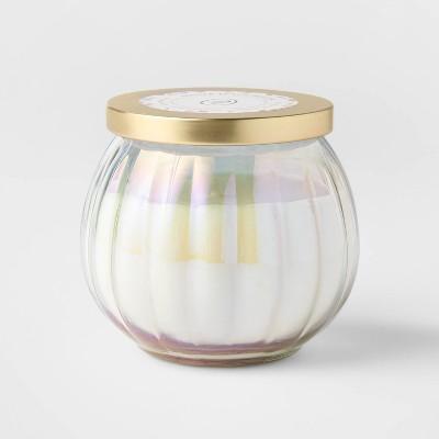 14oz Lidded White Depression Glass Jar Ginger Peach Bellini Candle - Opalhouse™