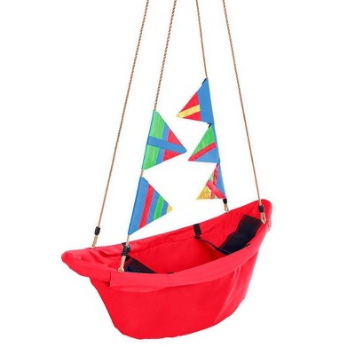 """HearthSong Regatta Boat Tree Swing for Kids with Colorful Flags and Mesh Bottom, 47""""L x 22""""W x 13""""H Holds Up To 200 lbs."""