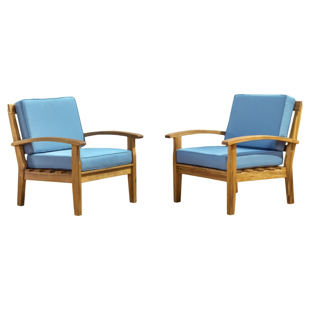 Peyton Set of 2 Acacia Wood Club Chairs With Cushions - Blue - Christopher Knight Home