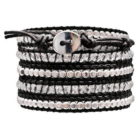 "Women's Wrap Fashion Bracelet with Beads - Black/Clear (30"") - image 1 of 1"