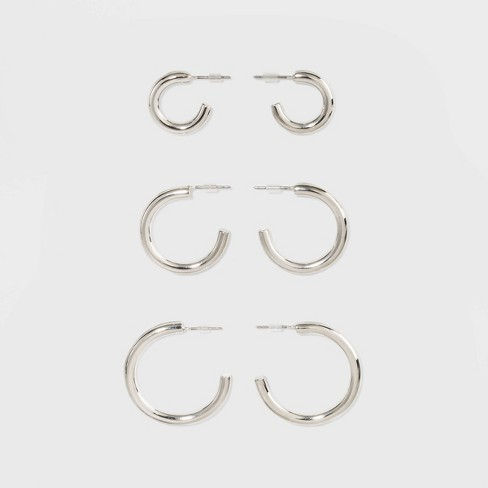 Open Graduated Size Hoop Earring Set 3ct - Wild Fable™ Dark Silver - image 1 of 3