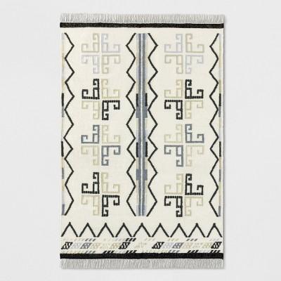 White Flatweave Dhurrie Geometric Fringed Woven Area Rug 5'X7' - Opalhouse™