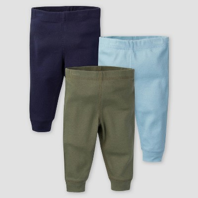 Gerber Baby Boys' 3pk Fox Pull-On Pants - Olive Green/Blue/Navy 0-3M