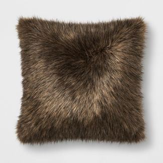 Faux Fur Oversized Square Throw Pillow Brown - Threshold™