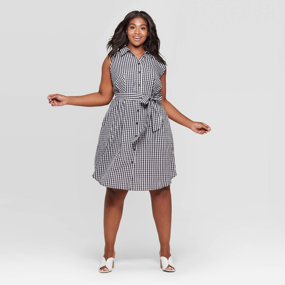 Women's Plus Size Gingham Button Front Tie Waist Shirtdress - Who What Wear Black/White 4X