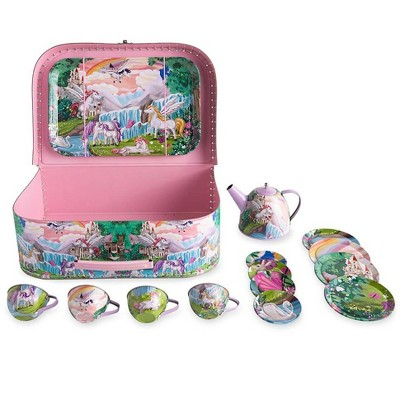 HearthSong - Fantasy Land Unicorn-Themed Tin Tea for Kids, 14 Piece Set