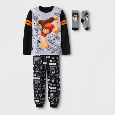Boys' Wreck-It Ralph 2pc Pajama Set with Sock - Gray/Black - image 1 of 1