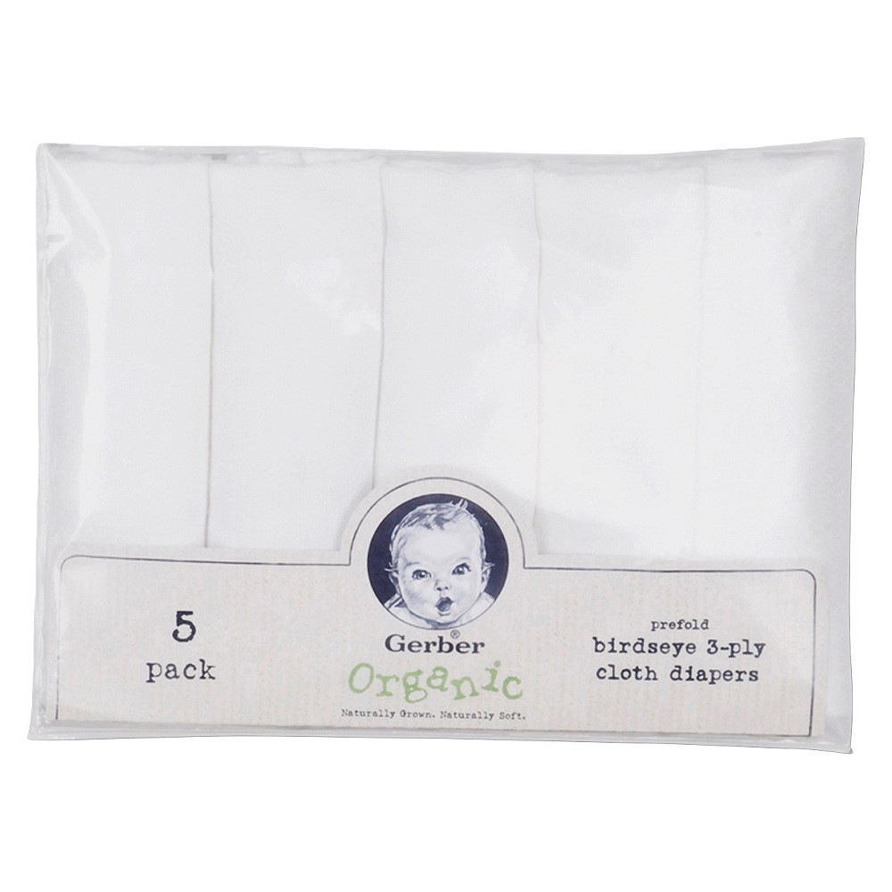 Gerber Organic Birdseye Prefold 3-Ply Cloth Diapers - 5ct