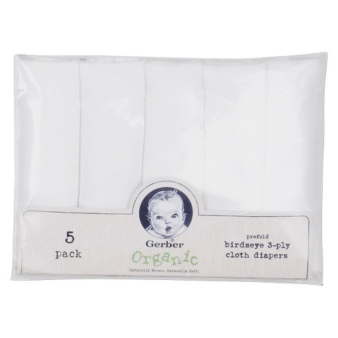 Gerber Organic Birdseye Prefold 3 Ply Cloth Diapers 5ct Target