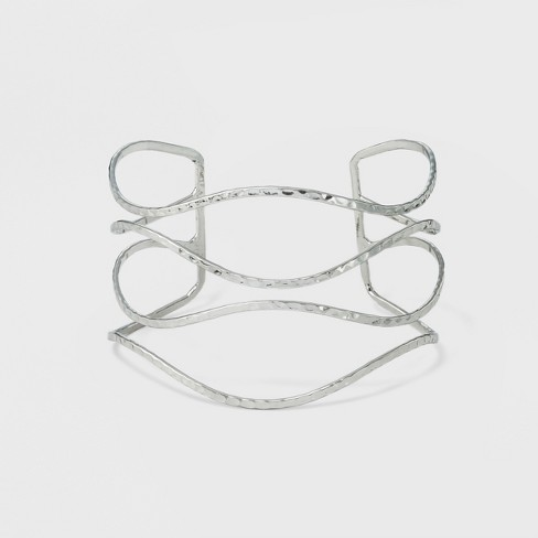 Women's Open Cuff with Four Wave Textured Rows - Silver - image 1 of 1