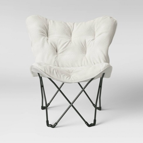 Sherpa Butterfly Chair Cream with Gray Legs - Room Essentials™ - image 1 of 4