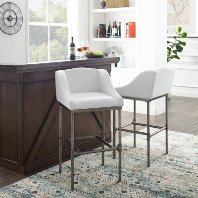 Dillon Metal Barstool Textured Silver/White - Hillsdale Furniture