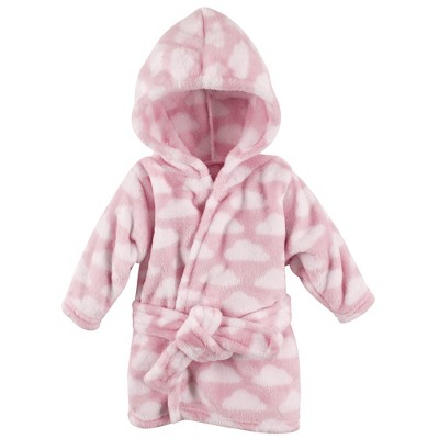 Hudson Baby Infant Girl Plush Animal Face Bathrobe, Pink Clouds, 0-9 Months
