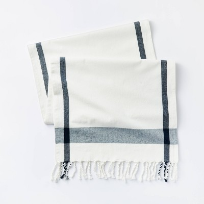 "90"" x 20"" Cotton Plaid Table Runner Cream - Threshold™ designed with Studio McGee"