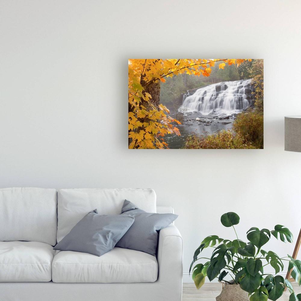 12 34 X 19 34 Lower Bond Falls In Autumn Bruce Crossing Mi Color By Monte Nagler Trademark Fine Art