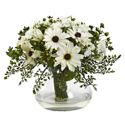 Nearly Natural Large Mixed Daisy Floral Arrangement