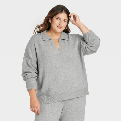 Women's Collared Split Neck Pullover Sweater - A New Day™