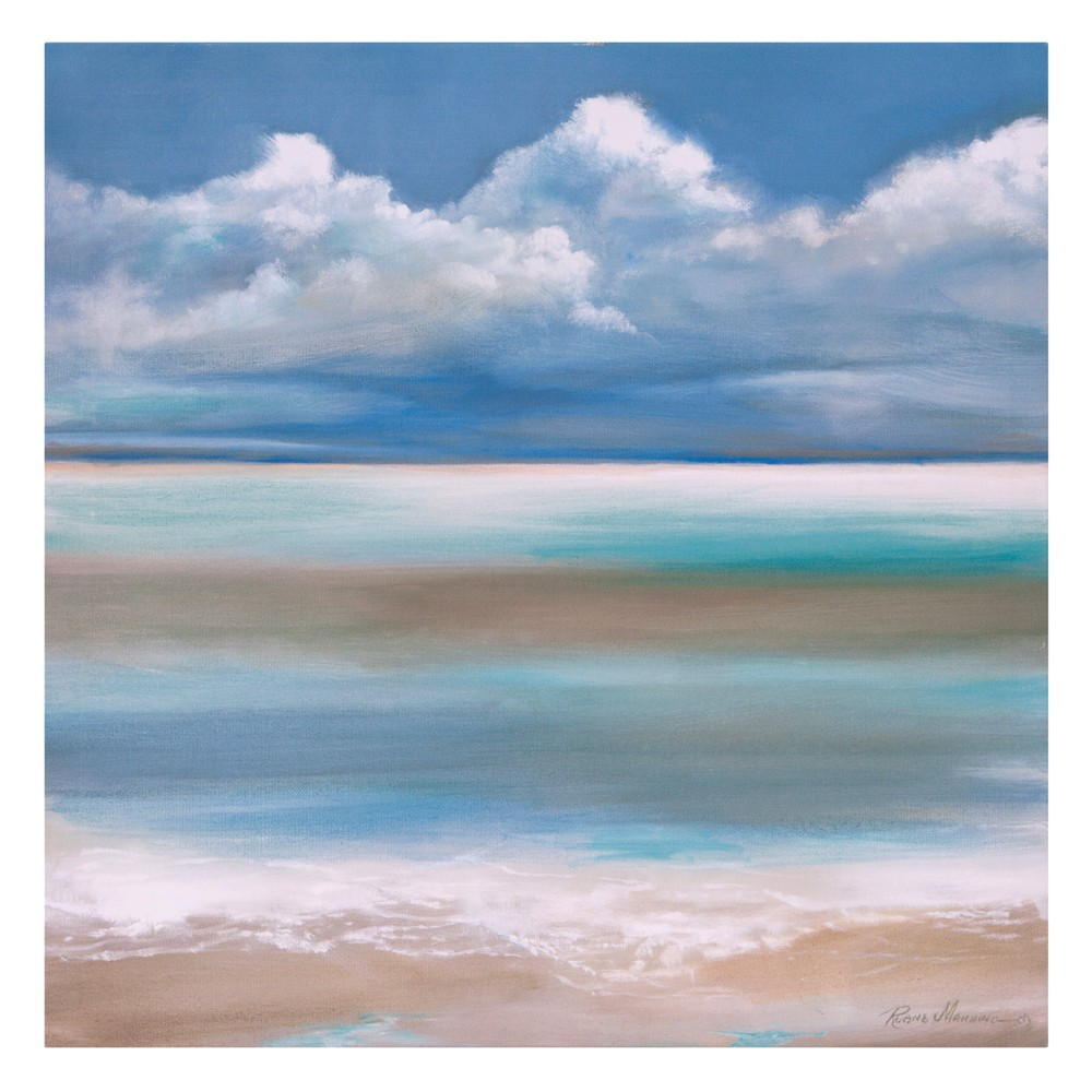 "Image of ""18""""x18"""" Tranquility By The Sea Coastal Canvas Art Blue - Patton Wall Decor"""